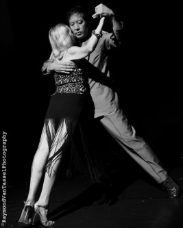 "This image shows Jonathan y Olivia in an off-axis ""tent"" apilado tango embrace, also known as the milonguero embrace."