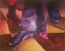 Painting of two tango dancers feet intertwined into a beautiful movement